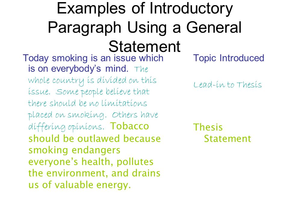 the introductory statement of an essay should